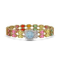19.77 ctw Sapphire & Diamond Bracelet 14K Yellow Gold - REF-245K5Y