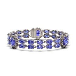 32.77 ctw Tanzanite & Diamond Bracelet 14K White Gold - REF-366H3R