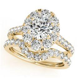 2.22 ctw Certified VS/SI Diamond 2pc Wedding Set Halo 14k Yellow Gold - REF-200A9N