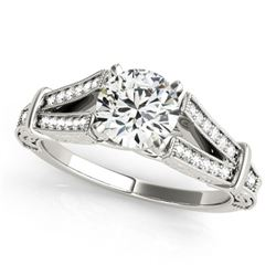 1 ctw Certified VS/SI Diamond Antique Ring 18k White Gold - REF-160N6F