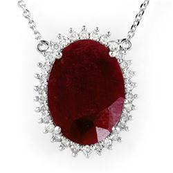 19.25 ctw Ruby & Diamond Necklace 18k White Gold - REF-232G2W