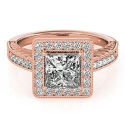 1.05 ctw Certified VS/SI Princess Diamond Halo Ring 18k Rose Gold - REF-163H6R