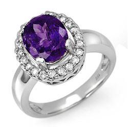 3.90 ctw Tanzanite & Diamond Ring 18k White Gold - REF-143X6A