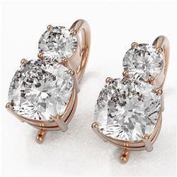 2.5 ctw Cushion Cut Diamond Designer Earrings 18K Rose Gold - REF-598N5F