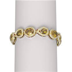 29.75 ctw Canary Citrine & Diamond Bracelet 18K Yellow Gold - REF-851Y3X