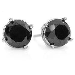 3.0 ctw VS Certified Black Diamond Stud Earrings 18k White Gold - REF-53W3H