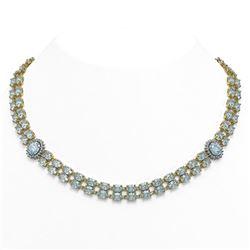 45.94 ctw Aquamarine & Diamond Necklace 14K Yellow Gold - REF-690M9G
