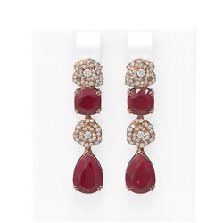 12.5 ctw Ruby & Diamond Earrings 18K Rose Gold - REF-283G6W