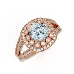 2.39 ctw Certified Aquamarine & Diamond Victorian Ring 14K Rose Gold - REF-106F5M
