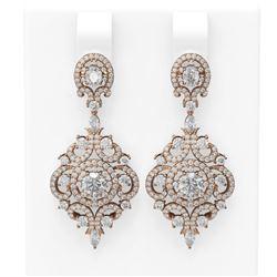 5.85 ctw Diamond Earrings 18K Rose Gold - REF-616W2H