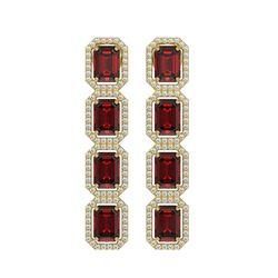 12.73 ctw Garnet & Diamond Micro Pave Halo Earrings 10k Yellow Gold - REF-169G3W