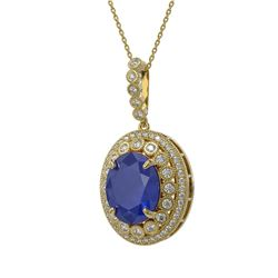 13.75 ctw Sapphire & Diamond Victorian Necklace 14K Yellow Gold - REF-267R8K