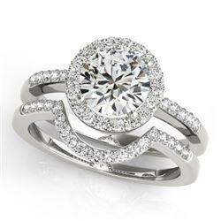 1.18 ctw Certified VS/SI Diamond 2pc Wedding Set Halo 14k White Gold - REF-177W3H