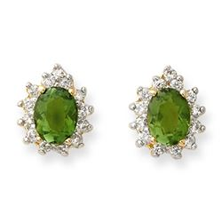 3.75 ctw Green Tourmaline & Diamond Earrings 14k Yellow Gold - REF-89K3Y