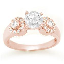 1.38 ctw Certified VS/SI Diamond Ring 14k Rose Gold - REF-351W3H
