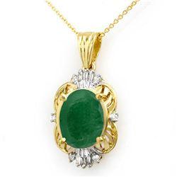 5.88 ctw Emerald & Diamond Pendant 14k Yellow Gold - REF-98K2Y