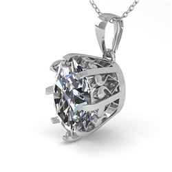 1 ctw VS/SI Oval Diamond Necklace Vintage 18k White Gold - REF-280X2A