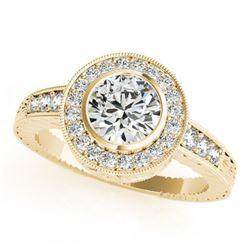 1.35 ctw Certified VS/SI Diamond Halo Ring 18k Yellow Gold - REF-300M8G