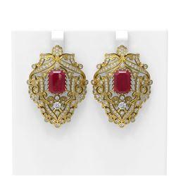 15.07 ctw Ruby & Diamond Earrings 18K Yellow Gold - REF-521X8A