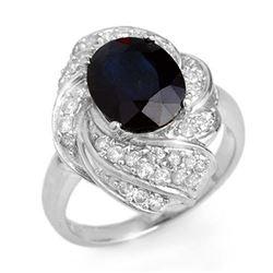 3.85 ctw Blue Sapphire & Diamond Ring 18k White Gold - REF-118F2M