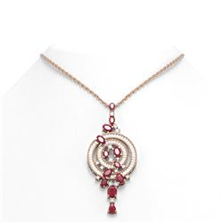 11.47 ctw Ruby & Diamond Necklace 18K Rose Gold - REF-474A5N