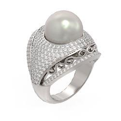 2.5 ctw Diamond & Pearl Ring 18K White Gold - REF-270F4M