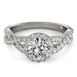 1.54 ctw Certified VS/SI Diamond Halo Ring 18k White Gold - REF-289W4H