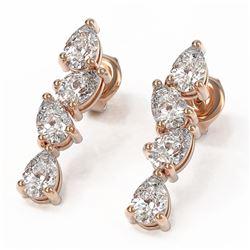 4 ctw Pear Diamond Designer Earrings 18K Rose Gold - REF-596F2M