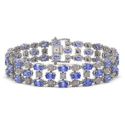 14.8 ctw Tanzanite & Diamond Row Bracelet 10K White Gold - REF-245X5A