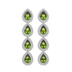 7.88 ctw Tourmaline & Diamond Micro Pave Halo Earrings 10k White Gold - REF-178M5G