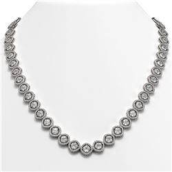 36.09 ctw Cushion Cut Diamond Micro Pave Necklace 18K White Gold - REF-5015H9R