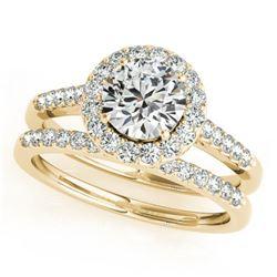 1.81 ctw Certified VS/SI Diamond 2pc Wedding Set Halo 14k Yellow Gold - REF-327H3R