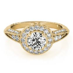 1 ctw Certified VS/SI Diamond Halo Ring 18k Yellow Gold - REF-117H3R