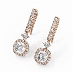 3 ctw Cushion Cut Diamond Designer Earrings 18K Rose Gold - REF-617X8A