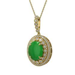 9.17 ctw Jade & Diamond Victorian Necklace 14K Yellow Gold - REF-245K5Y