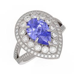 4.52 ctw Certified Tanzanite & Diamond Victorian Ring 14K White Gold - REF-245A5N