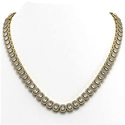 30.73 ctw Emerald Cut Diamond Micro Pave Necklace 18K Yellow Gold - REF-3606K4Y