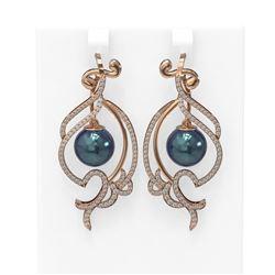 1.68 ctw Diamond & Pearl Earrings 18K Rose Gold - REF-219H3R