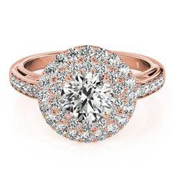 2.25 ctw Certified VS/SI Diamond Halo Ring 18k Rose Gold - REF-361R3K