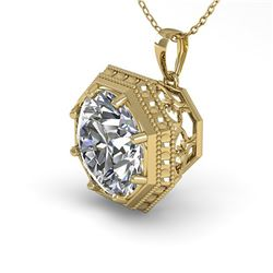 1 ctw Certified VS/SI Diamond Necklace Art Deco 18k Yellow Gold - REF-284X3A