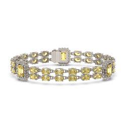 14.96 ctw Citrine & Diamond Bracelet 14K White Gold - REF-232K4Y