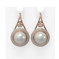 1.31 ctw Diamond & Pearl Earrings 18K Rose Gold - REF-185R5K