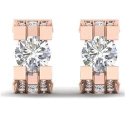 2.25 ctw VS/SI Diamond Art Deco Stud Micro Pave Earrings 14k Rose Gold - REF-233M5G