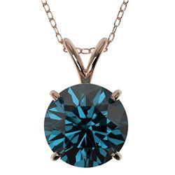2.04 ctw Certified Intense Blue Diamond Necklace 10k Rose Gold - REF-280W8H