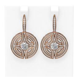 3.36 ctw Diamond Earrings 18K Rose Gold - REF-540G8W