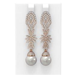 3.61 ctw Diamond & Pearl Earrings 18K Rose Gold - REF-314A8N