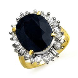 10.99 ctw Blue Sapphire & Diamond Ring 14k Yellow Gold - REF-125A5N
