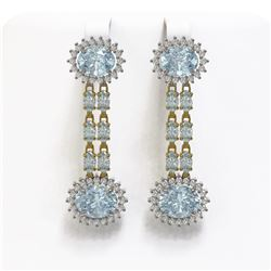 12.82 ctw Sky Topaz & Diamond Earrings 14K Yellow Gold - REF-172M8G