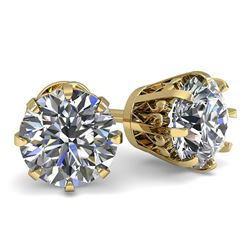 1.53 ctw VS/SI Diamond Stud Solitaire Earrings Vintage 18k Yellow Gold - REF-214G8W