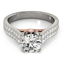 1.36 ctw Certified VS/SI Diamond Pave Ring 18k 2Tone Gold - REF-170F8M